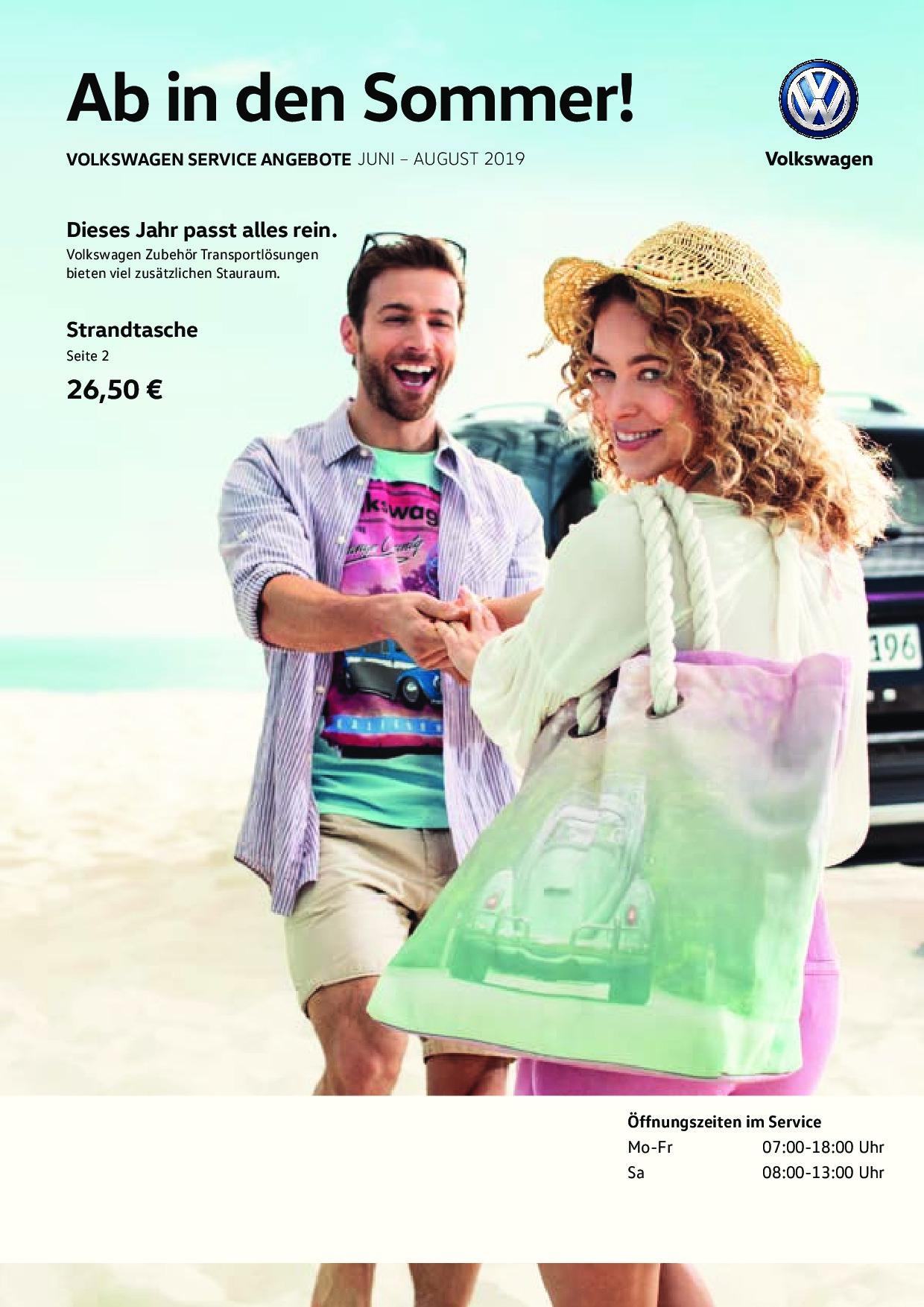 Prospekt Volkswagen Service Angebote Juni bis August 2019