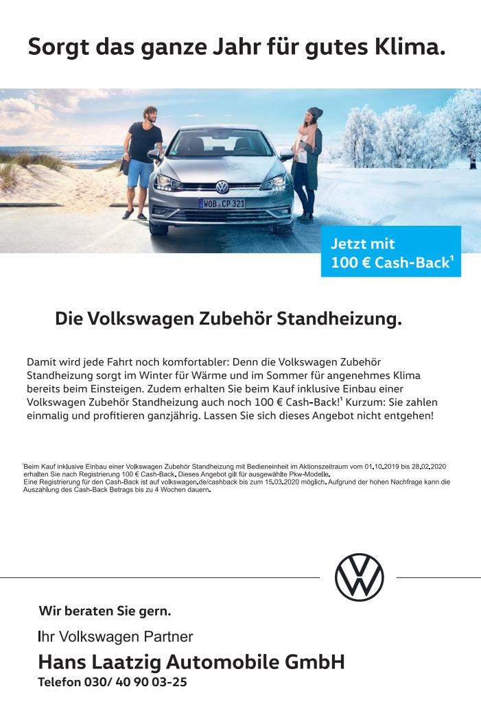 Volkswagen Standheizung Cashback