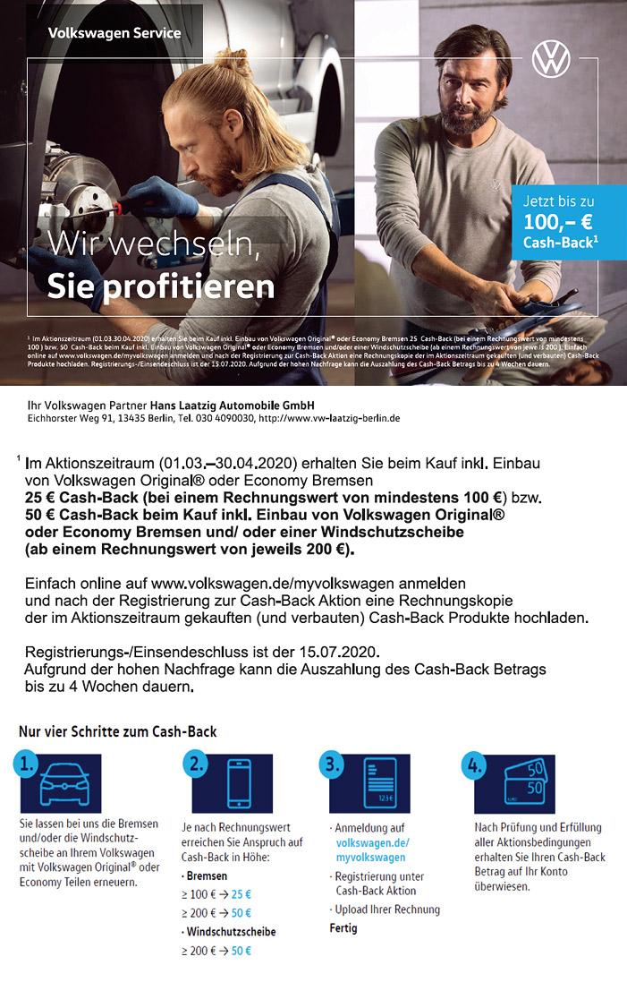 Volkswagen Service Cashback