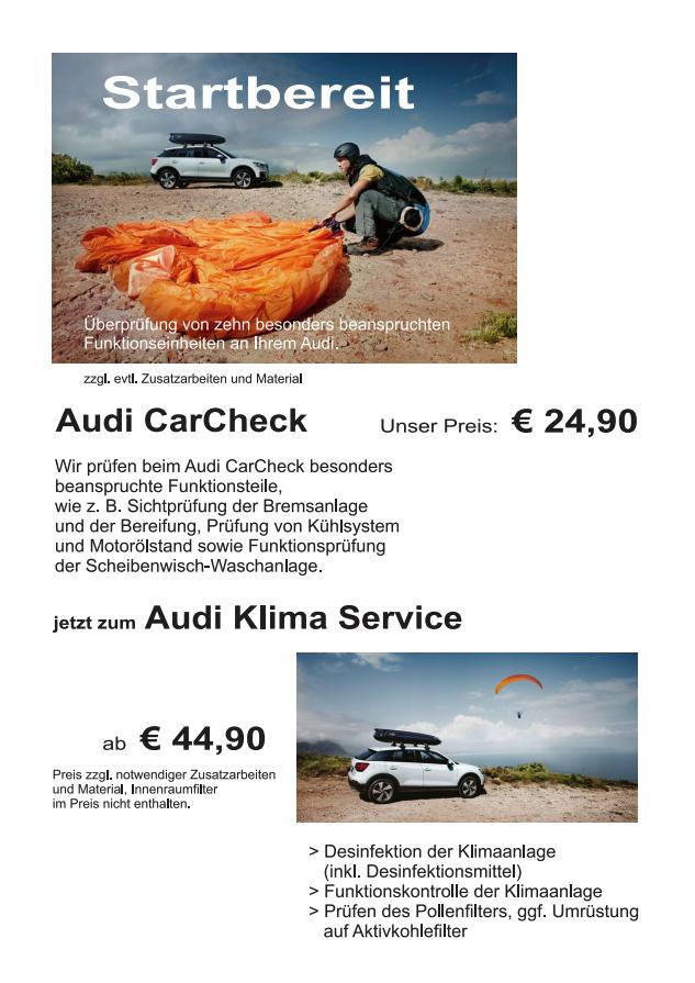Audi CarCheck 24,90€; Audi Klima Service 44,90€