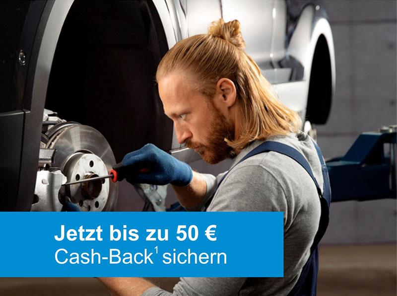 Cash-Back Aktion Bremsscheiben und -beläge. Jetzt bis zu 50 € Cash-Back sichern.